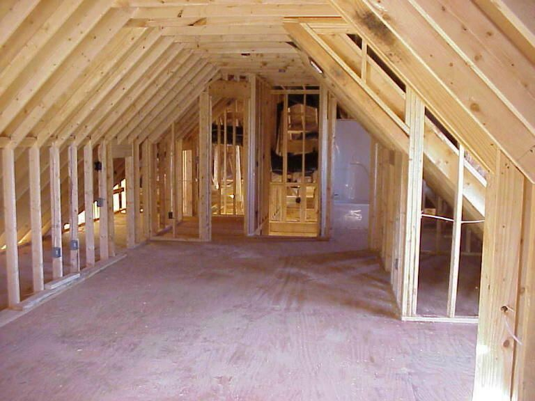 Framed above garage living space around the house for Bonus room truss design