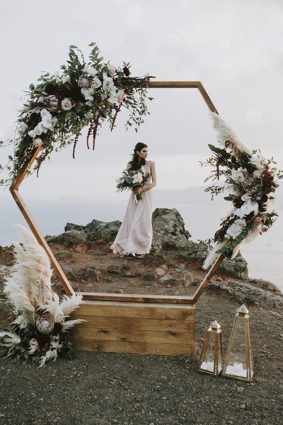 Hexagon Wooden Wedding Arch /Wedding Decor Natural Wood/ | Etsy-- -   18 diy Wedding alter ideas