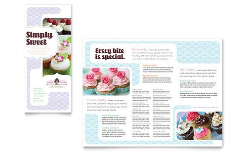 Bakery  Cupcake Shop Tri Fold Brochure Template Design