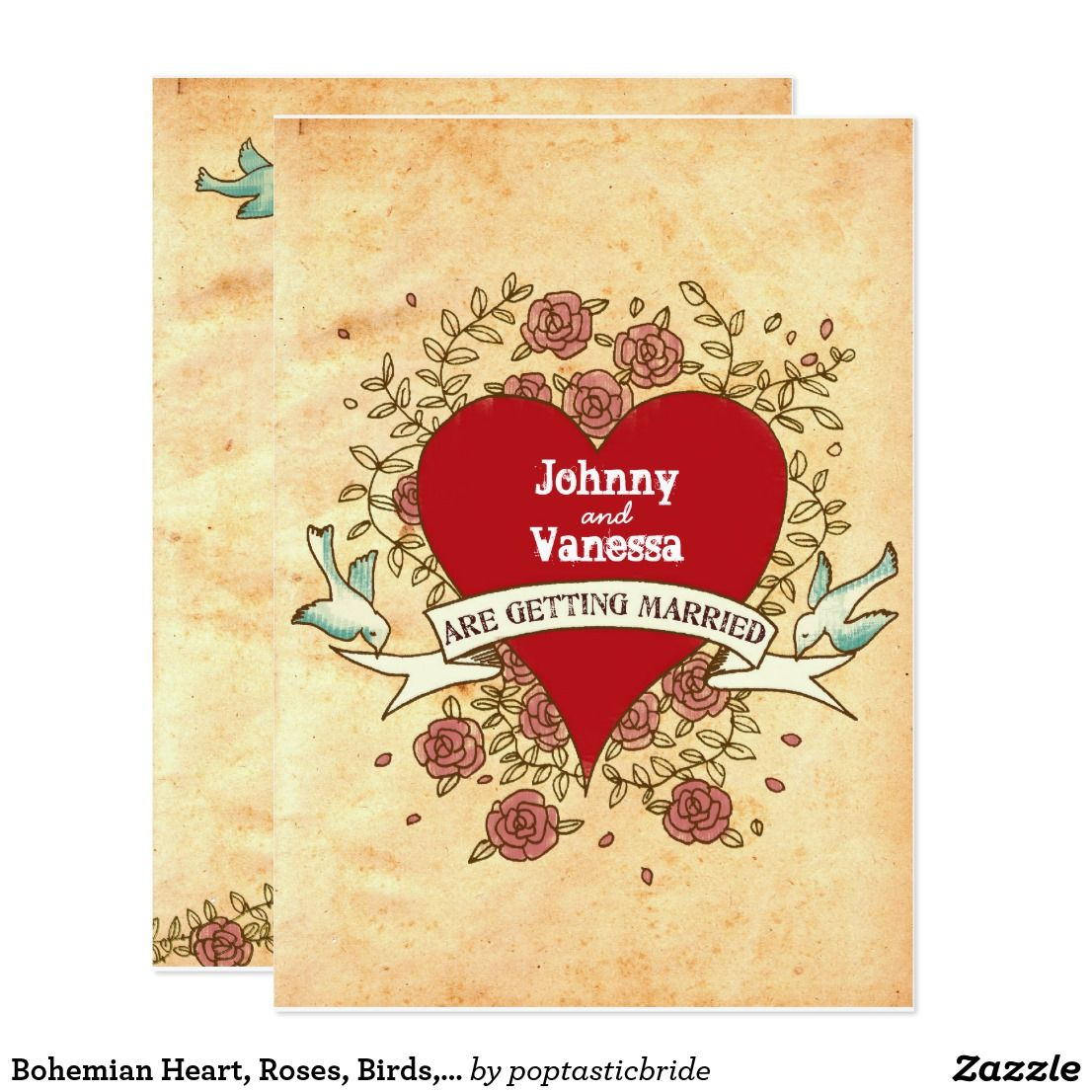Bohemian Heart, Roses, Birds, & Banner Wedding Invitation ...