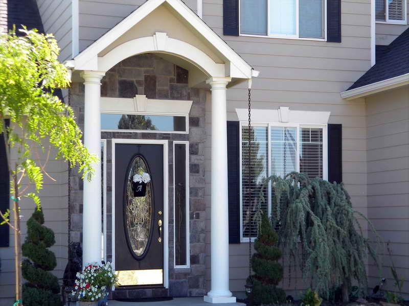 pictures of gray houses with colored doors   the various design