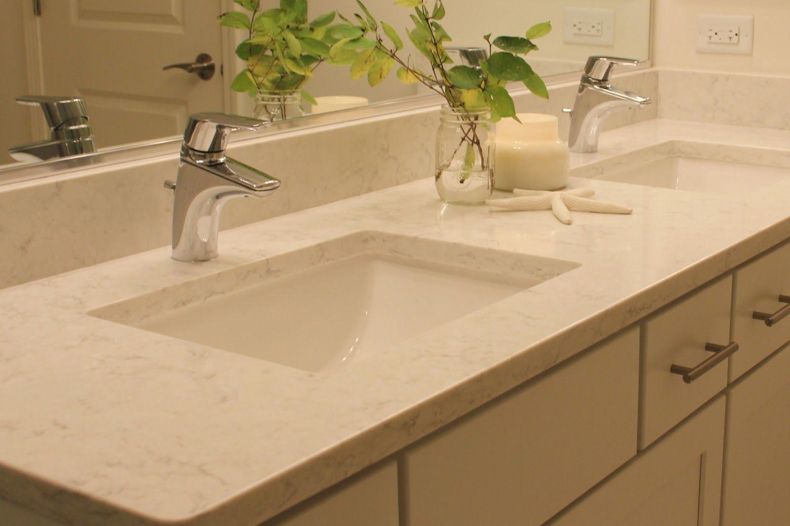 Lg Viatera Minuet Quartz Countertop On Vanity In Bathroom Minuet