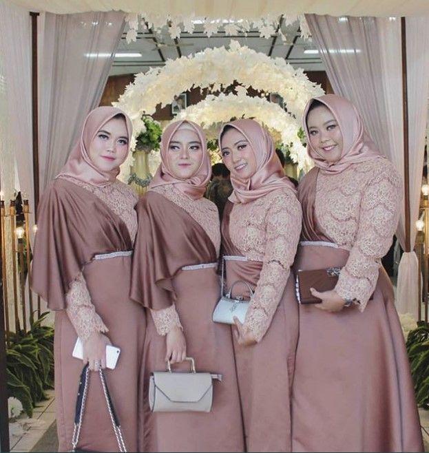 Model Baju Gamis Brokat Kombinasi Satin Selendang Bahu Cream Tua Pakaian Pengiring Pengantin Gaun Pengantin Sederhana Gaun Pesta Perkawinan