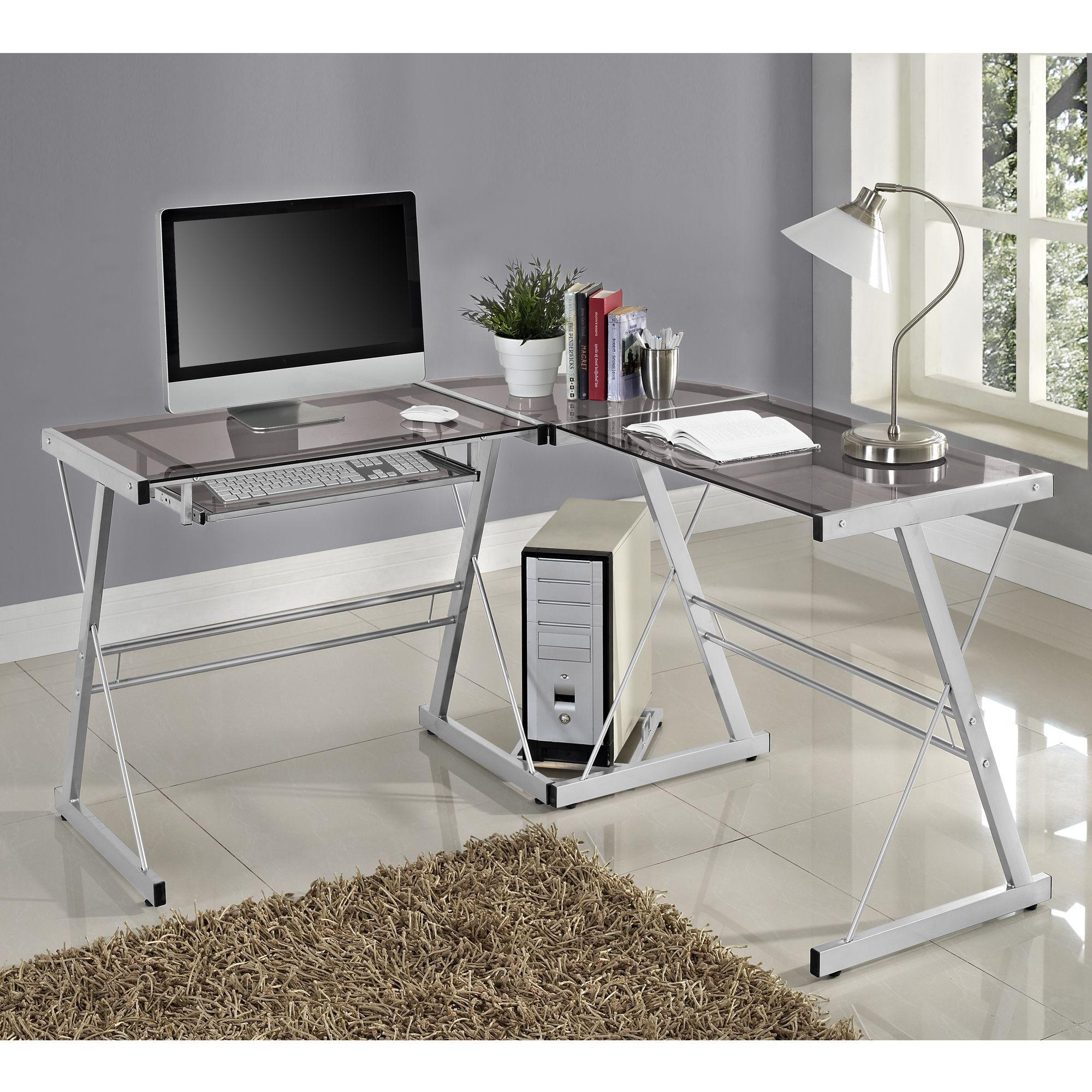 Contemporary Glass And Metal L Shaped Desk 3 Piece Contemporary