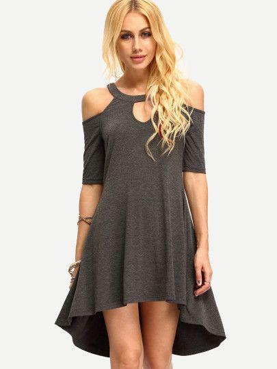 Vestido hombro frío hueco asimétrico -gris oscuro