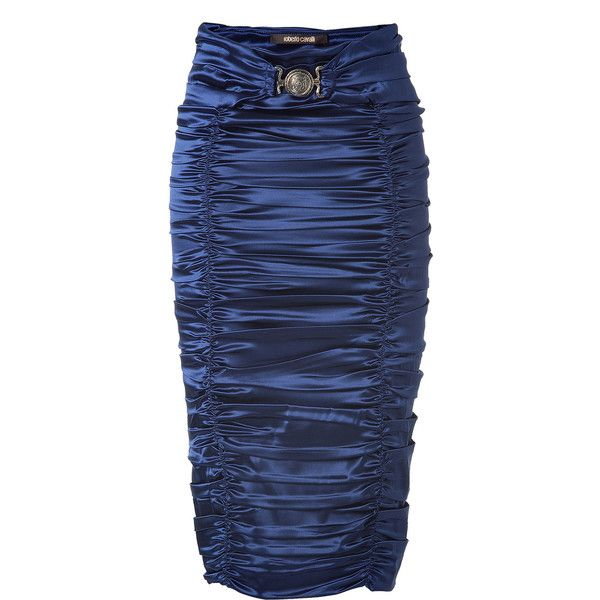 ROBERTO CAVALLI Royal Blue Ruched Pencil Skirt found on Polyvore