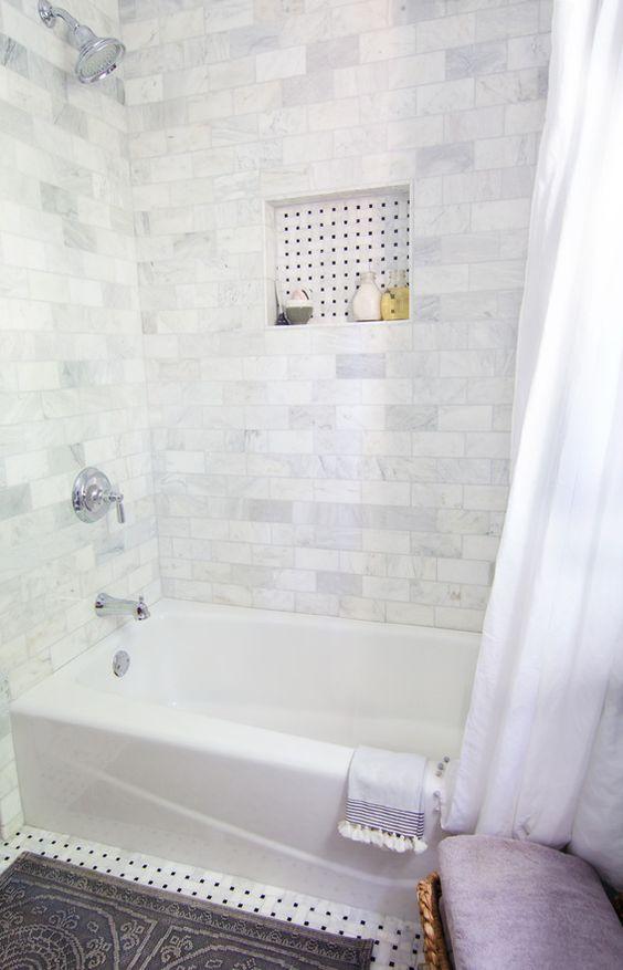 Small Marble Tiles Bathroom Tub Shower Combo Bathroom Tub Shower Small Bathroom Inspiration