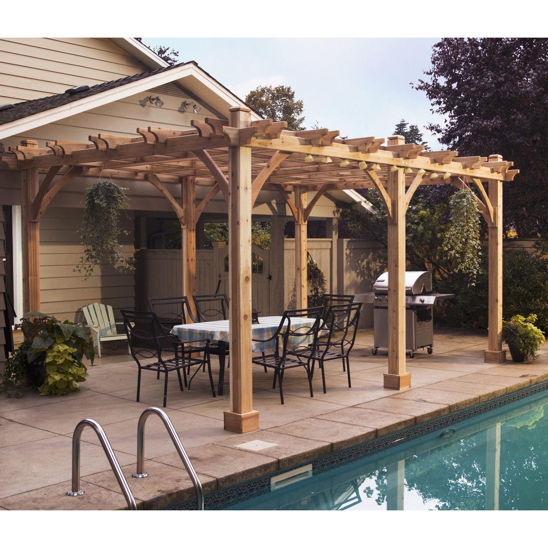 Breeze 12 Ft. W x 16 Ft. D Solid Wood Pergola Outdoor