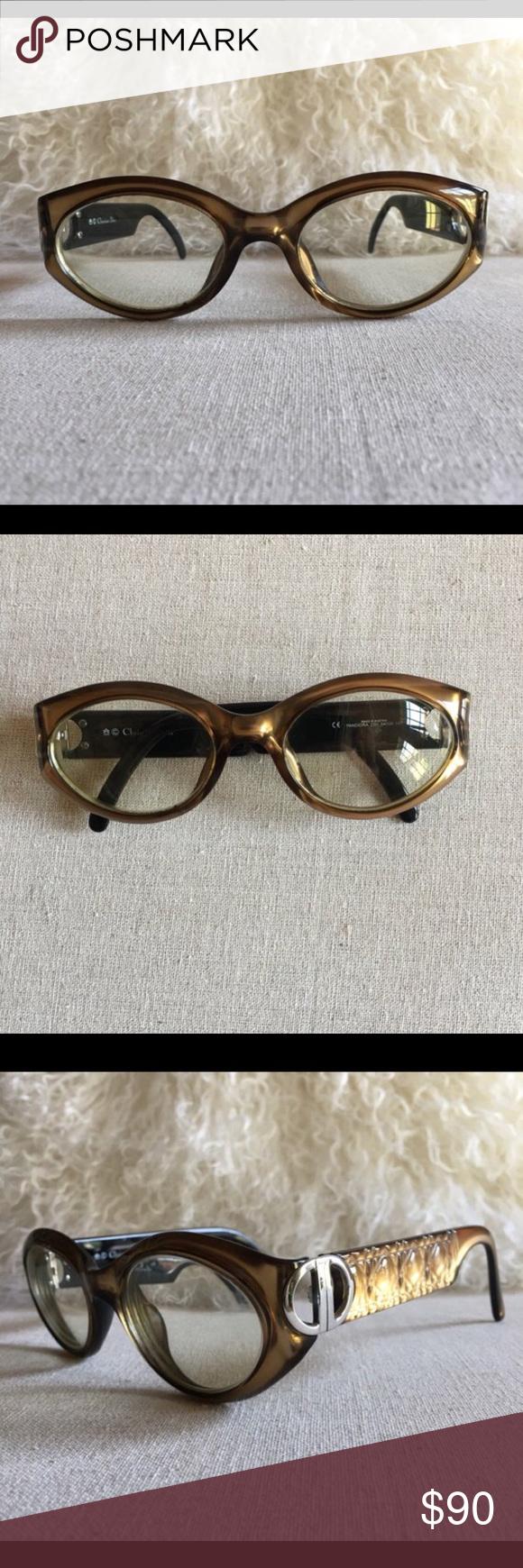 a6e41c3906b Vintage Christian Dior Khaki Gold Sunglasses These khaki bronzish gold eye  sunglasses by Christian Dior