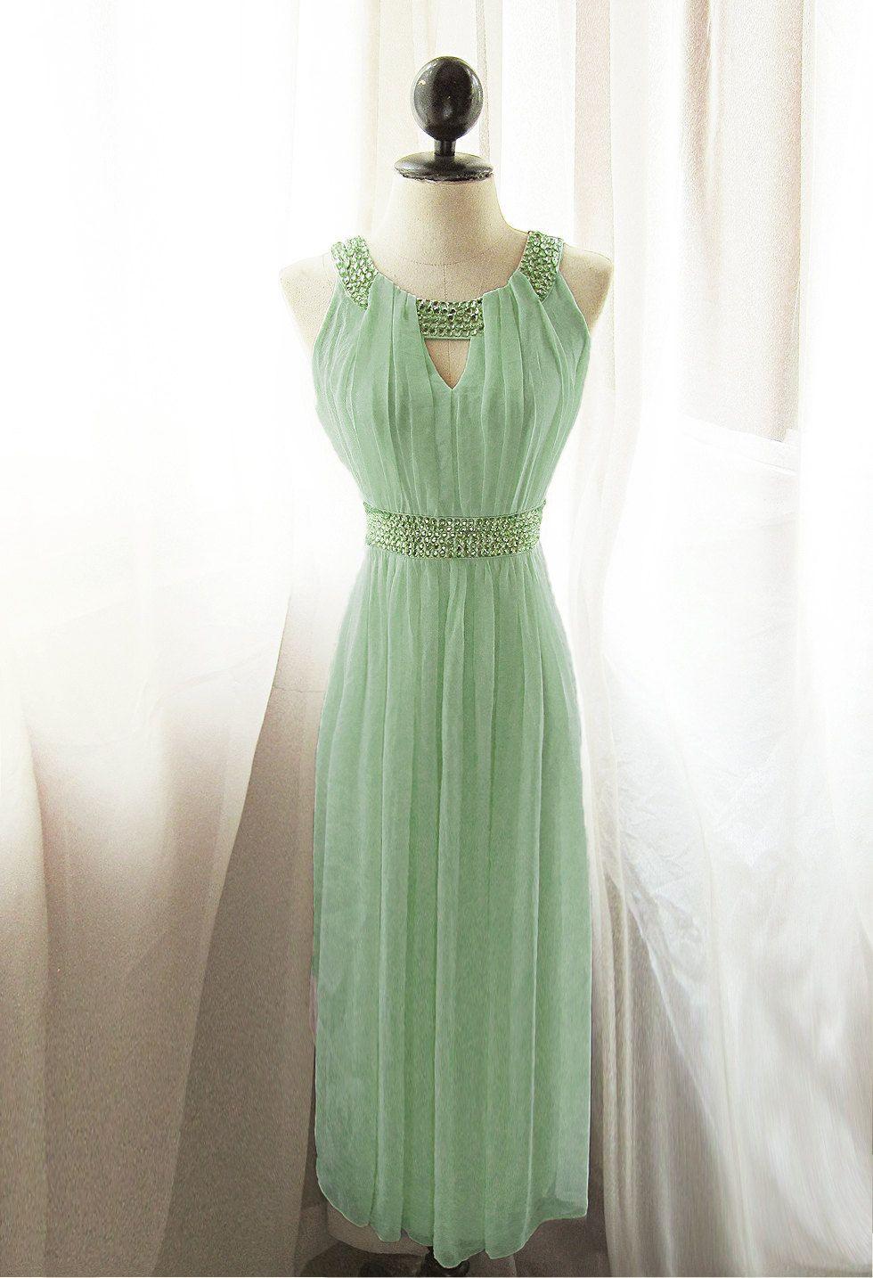 Egyptian Goddess Absinthe Mint Vineyard Green Chiffon Long Cocktail