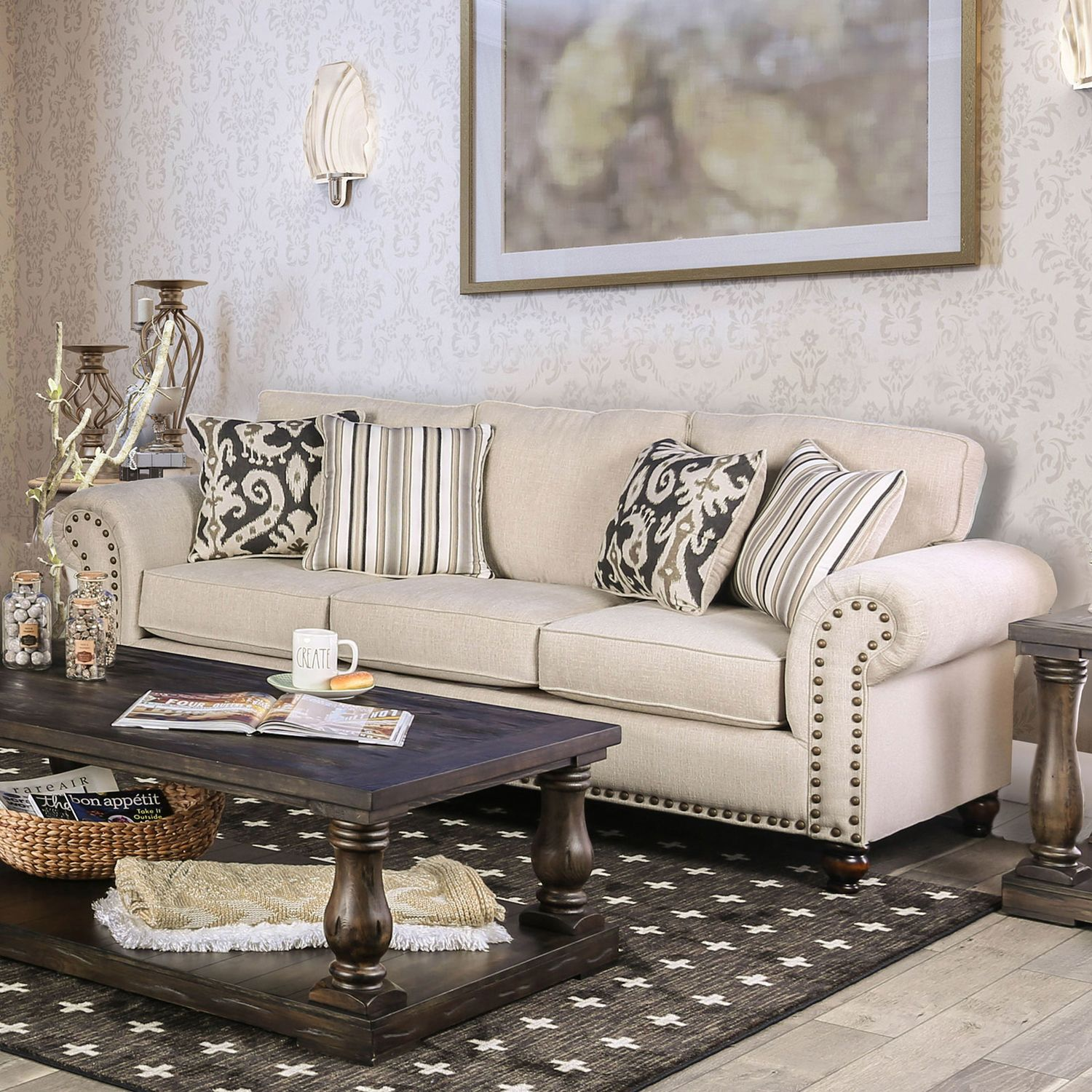 Furniture Of America Calloway Ivory Chenille Transitional Sofa