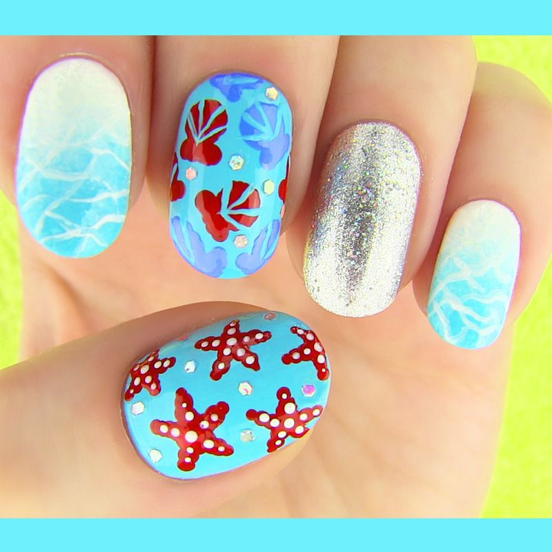 Beauty video by SaraBeautyCorner S. - In this nail tutorial I show summer  inspired nail art. I made 3 nail art designs (seashells, starfish, ... - Summer Nails Nail Art By SaraBeautyCorner Summer Nails