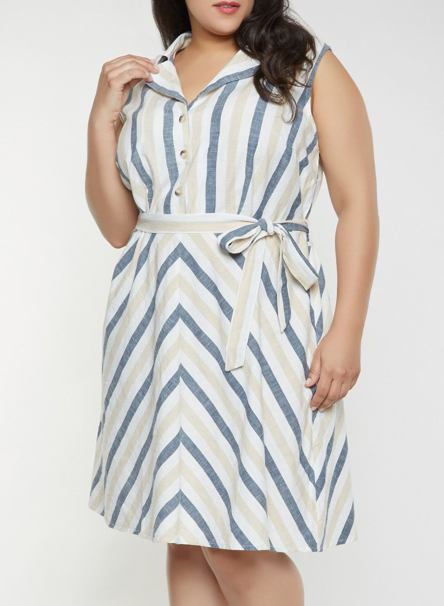 48657978a Plus Size Sleeveless Striped Linen Dress in 2019 | Products | Linen ...