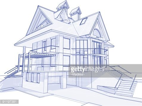 Architecture Blueprints 3d vector art : house blueprint: 3d technical concept draw | log on