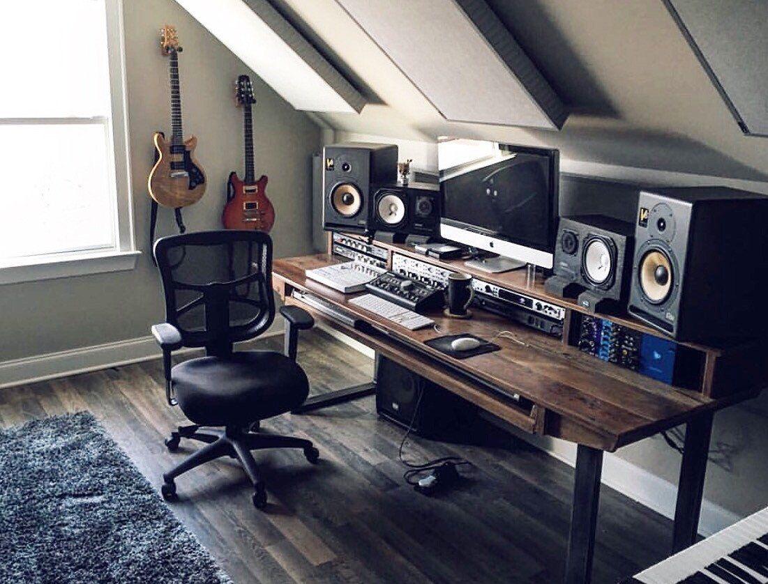 reclaimed 88 key studio desk for audio video music film production