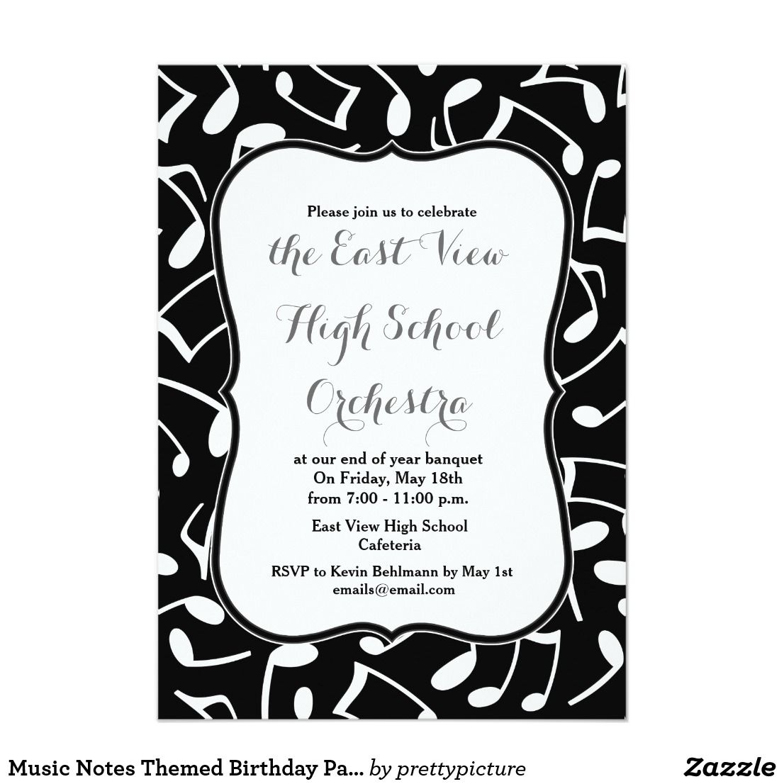 Music Notes Themed Birthday Party Invitation | Orchestra Banquet ...