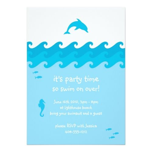 Dolphin and ocean waves invitation card ocean waves pool party dolphin and ocean waves invitation card filmwisefo