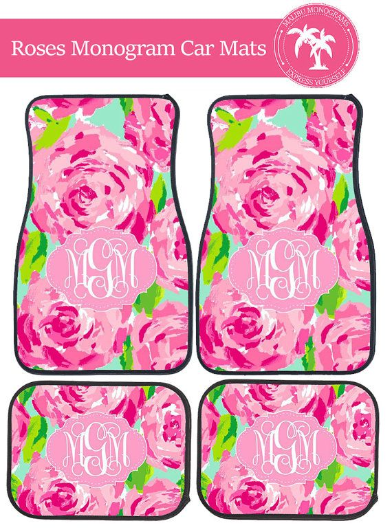 Lilly Roses Monogram Car Mats by MalibuMonograms on Etsy