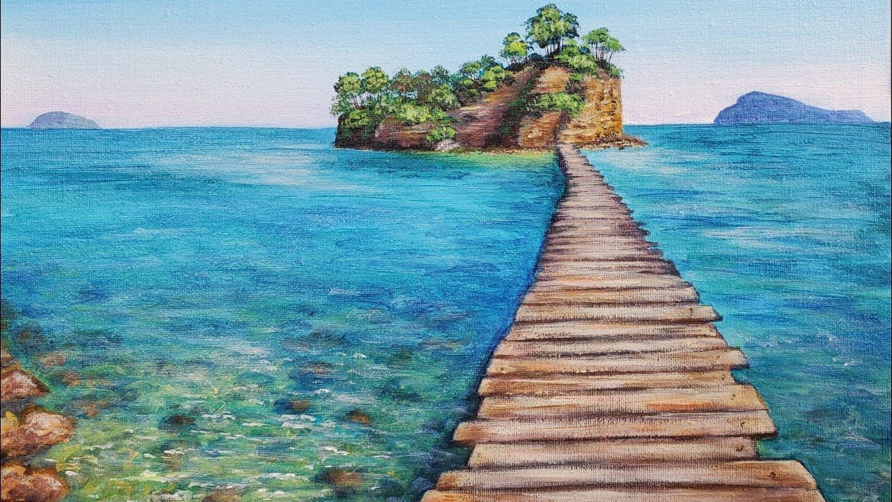 Ocean Island Pier Seascape Acrylic Painting Live Tutorial Youtube In 2020 Ocean Landscape Painting Acrylic Painting Seascape