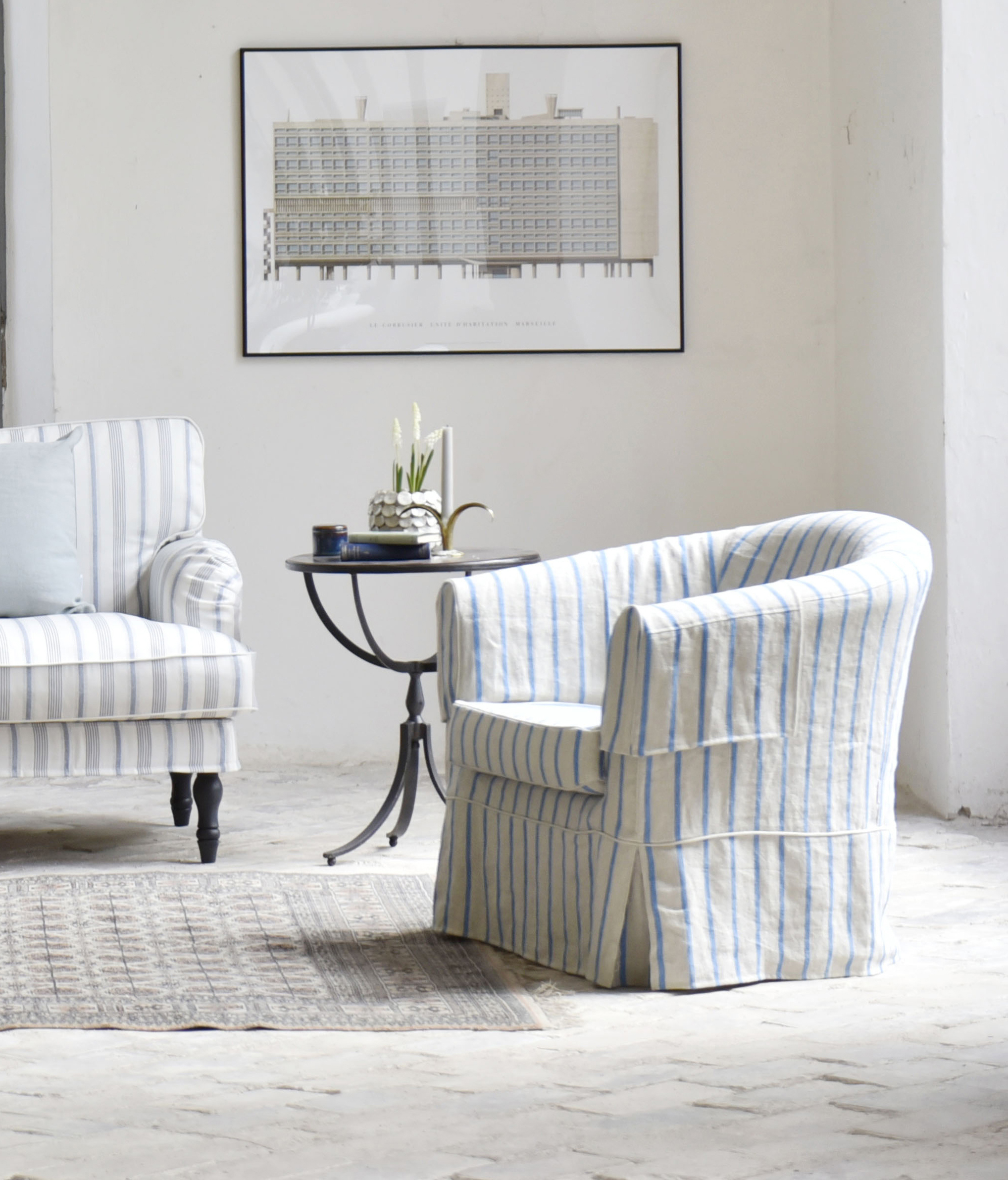provencal vintage ikea tullsta armchair covered in bemz brera frino cobalt stripe shabby. Black Bedroom Furniture Sets. Home Design Ideas