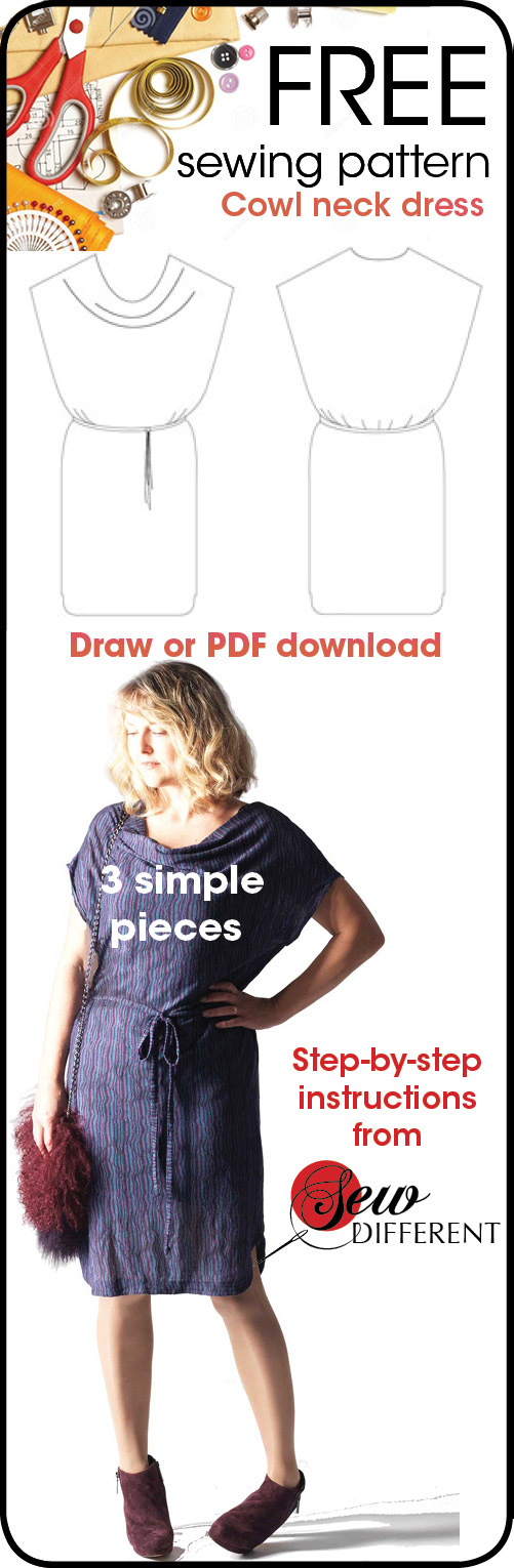 Free sewing pattern - cowl neck dress for women from Sew Different ...