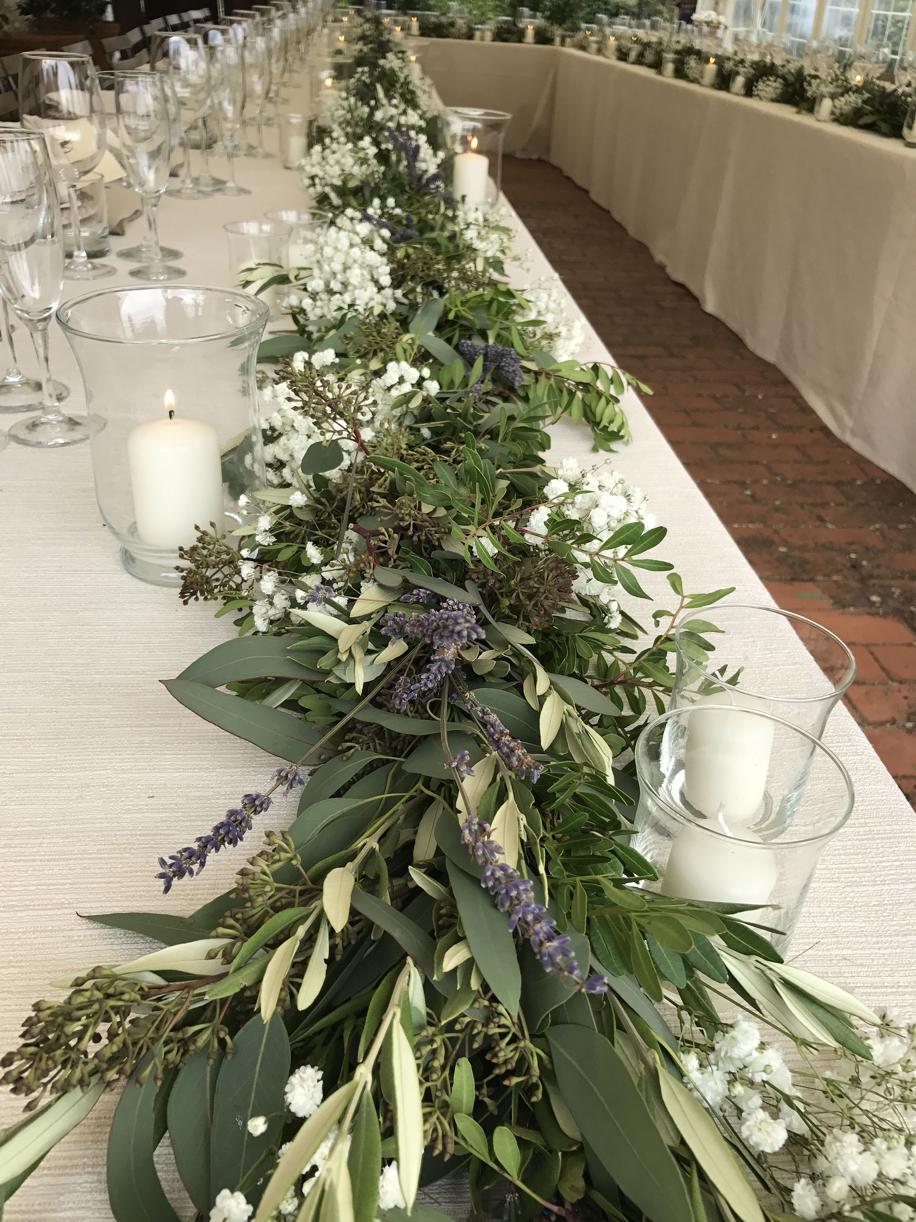 Garland With Eucalyptus Laurel Olive Leaves Lavender And Baby S Breath Lavender Wedding Centerpieces Eucalyptus Wedding Decor Lavender Centerpieces