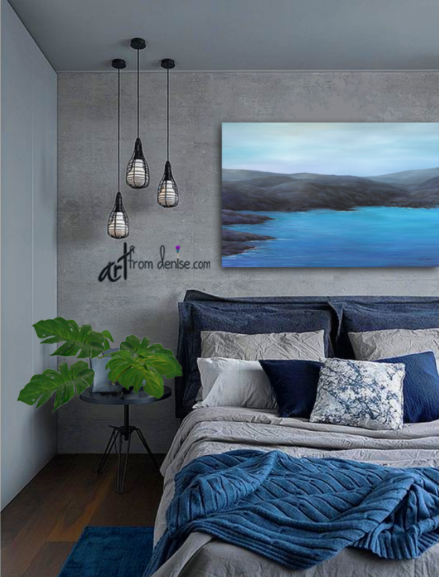 Black Blue Coastal Wall Art Canvas For Office Lake House Etsy Bedroom Decor Blue Bedroom Home Decor