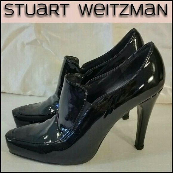 """Stuart Weitzman Patent Booties Shoes 10M Black patent leather booties with heels, shiny and gorgeous!   Square Toe with seam detail at center   Patent Leather Wrapped Pump Style Heel Shaft  Leather Sole & Rubber Heel Stop  Size: 10 M U.S.  5"""" Heel, toe to heel measured on the inside of the shoe : 11 """",  Widest part of shoe: 3.25 """"   Color: Black  SMOKE & PET ODOR FREE  Note: Shoes are Very Gently Preowned in SUPER Great, wearable condition. ZERO scuff marks!! Insides in CLEAN, ready to wear…"""