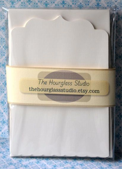 Stationary Blank Note Card Set Natural  Flat by TheHourglassStudio, $11.75