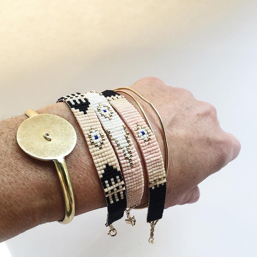 #ILD woven #eveileye bracelets coming soon!  Paired with AllSeeingEye cuff . . .  #iwonaludyga #woven #loom #bracelets #armcandy #allseeingeye #beaded #precious #style #design #handwoven #handmade #imake #idesign #wearild #cuff #brass