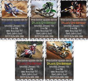 Print your own kickin dirt motocross dirt bike birthday invitations print your own kickin dirt motocross dirt bike birthday invitations options ebay filmwisefo