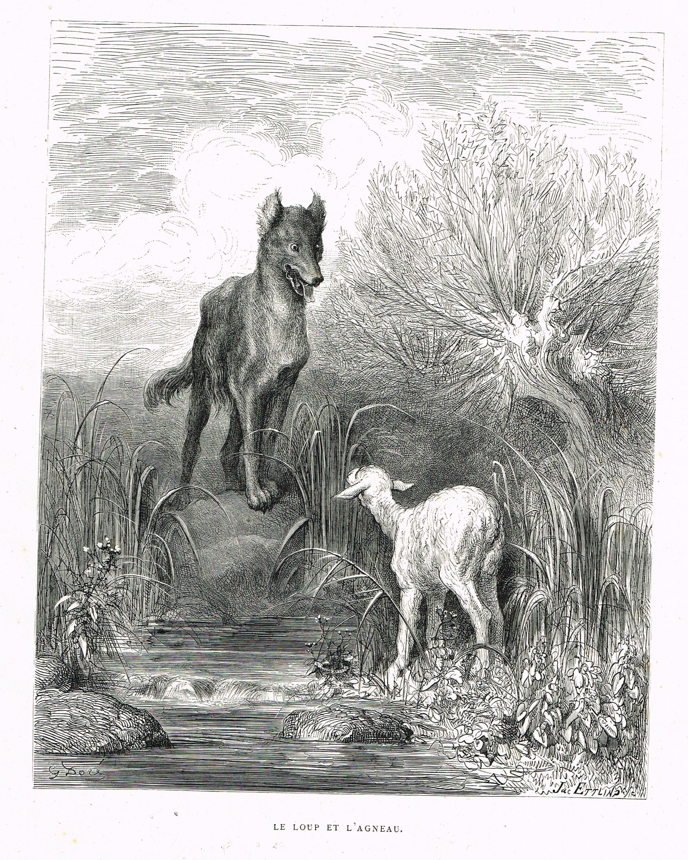 Le loup et l 39 agneau fable de jean de la fontaine - Dessin loup et agneau ...