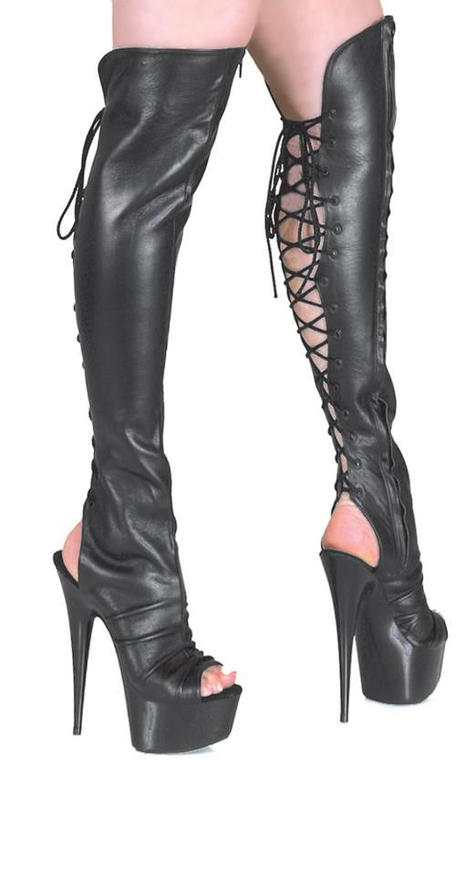 PLATFORM BACK LACE OPEN TOE/BACK THIGH BOOT