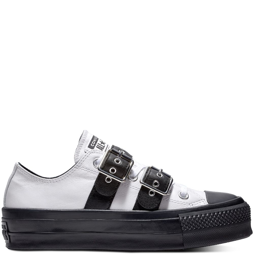 Chuck Taylor All Star Lift Buckle Low Top White Black White ... d6a3ed4ab