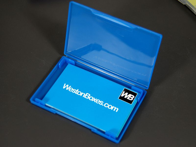 Blue plastic business card wallet from westonboxes with blue plastic business card wallet from westonboxes with business cards printed by moo print reheart Images