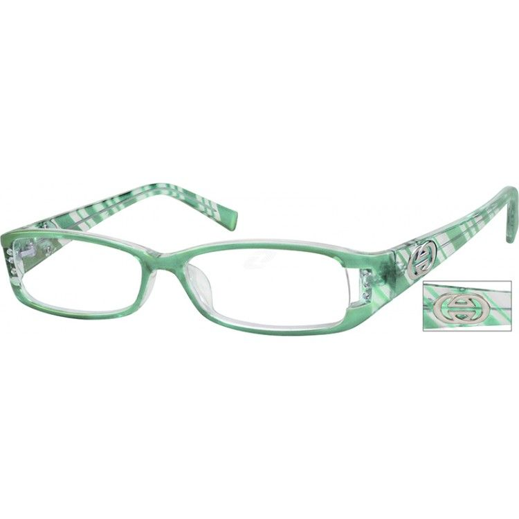 Here's a diagonal stripe full-rim, medium size plastic frame, which has metal reinforced temples for additional adjustability. There are sparkling crystals at the front corner of the frame, and a silver tone metal logo on the front of the temple. The frame front is green over clear.