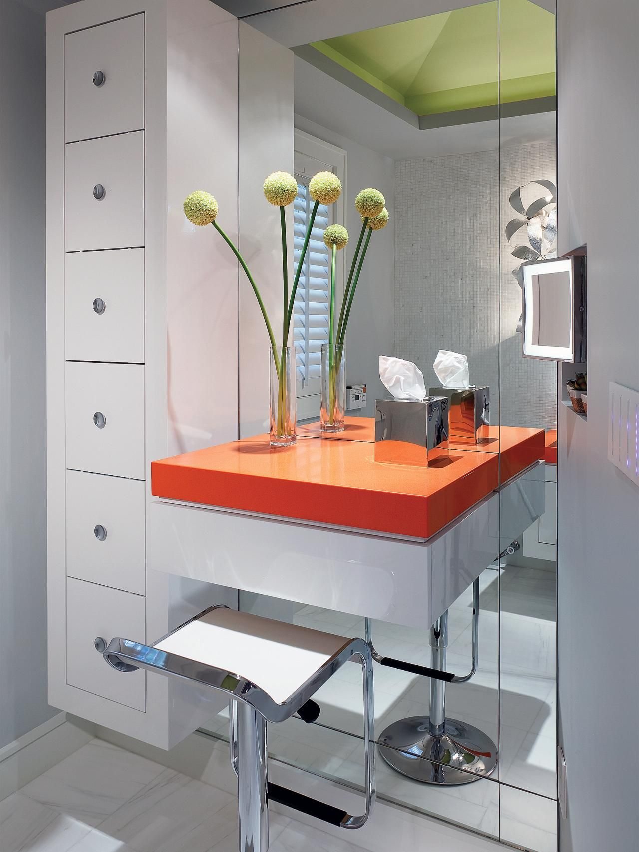 9 no fail ways to keep your makeup organized makeup vanities bathroom with floating makeup table and storage drawer plus height stool placed on white ceramic tiled floor with vanity dressing table lamps also modern watchthetrailerfo