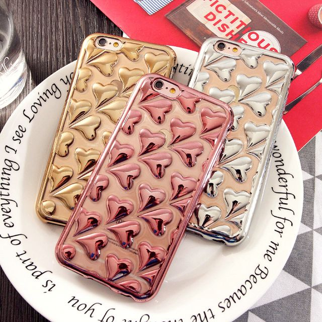 Kisscase telefoon gevallen voor apple iphone 6 6s case fashion plated 3d hart liefde case voor iphone 6 plus 6s plus zachte tpu cover Coque