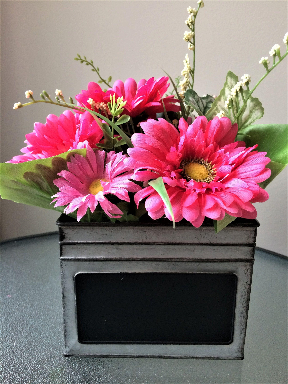 Pink daisy flower arrangement silk flower centerpiece artificial pink daisy flower arrangement silk flower centerpiece artificial flower decor rustic centerpiece izmirmasajfo