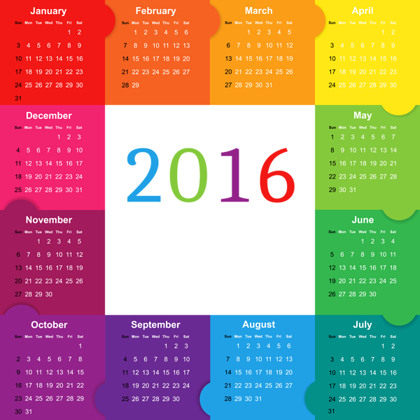 Colorful  Calendar Png Image