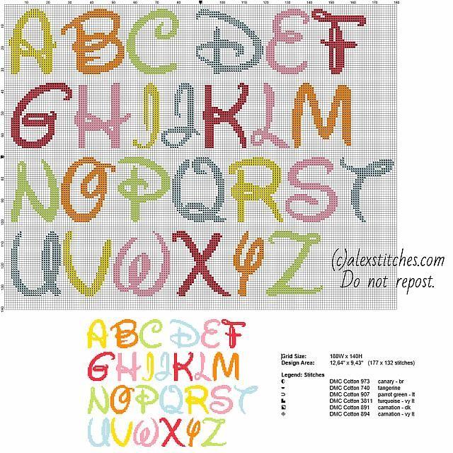 Alfabeto disney punto croce punto croce pinterest for Alfabeto disney a punto croce