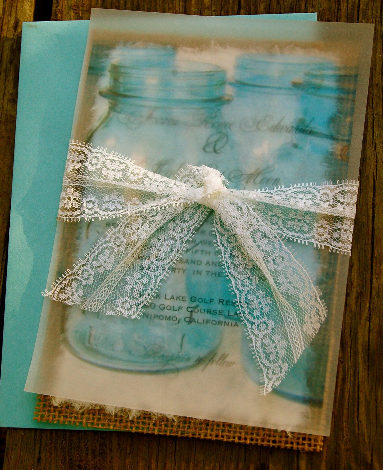 Do it yourself mason jar lace and burlap wedding invitation do it yourself mason jar lace and burlap wedding invitation rustic barn wedding solutioingenieria Gallery