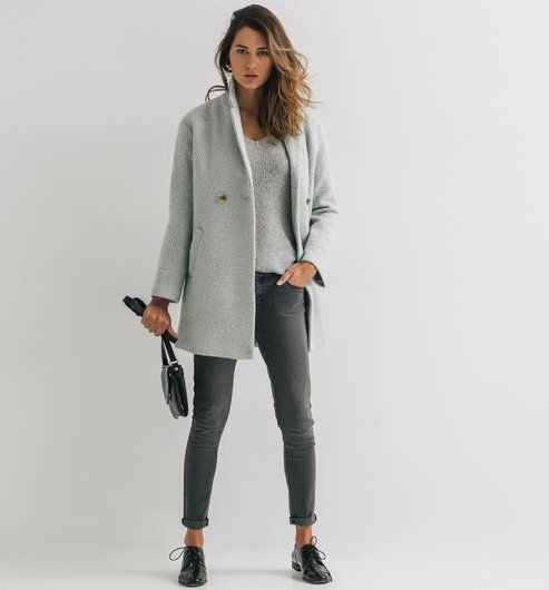 Manteau Bouclettes Femme Vert Clair Promod T 40 Xo Outfits