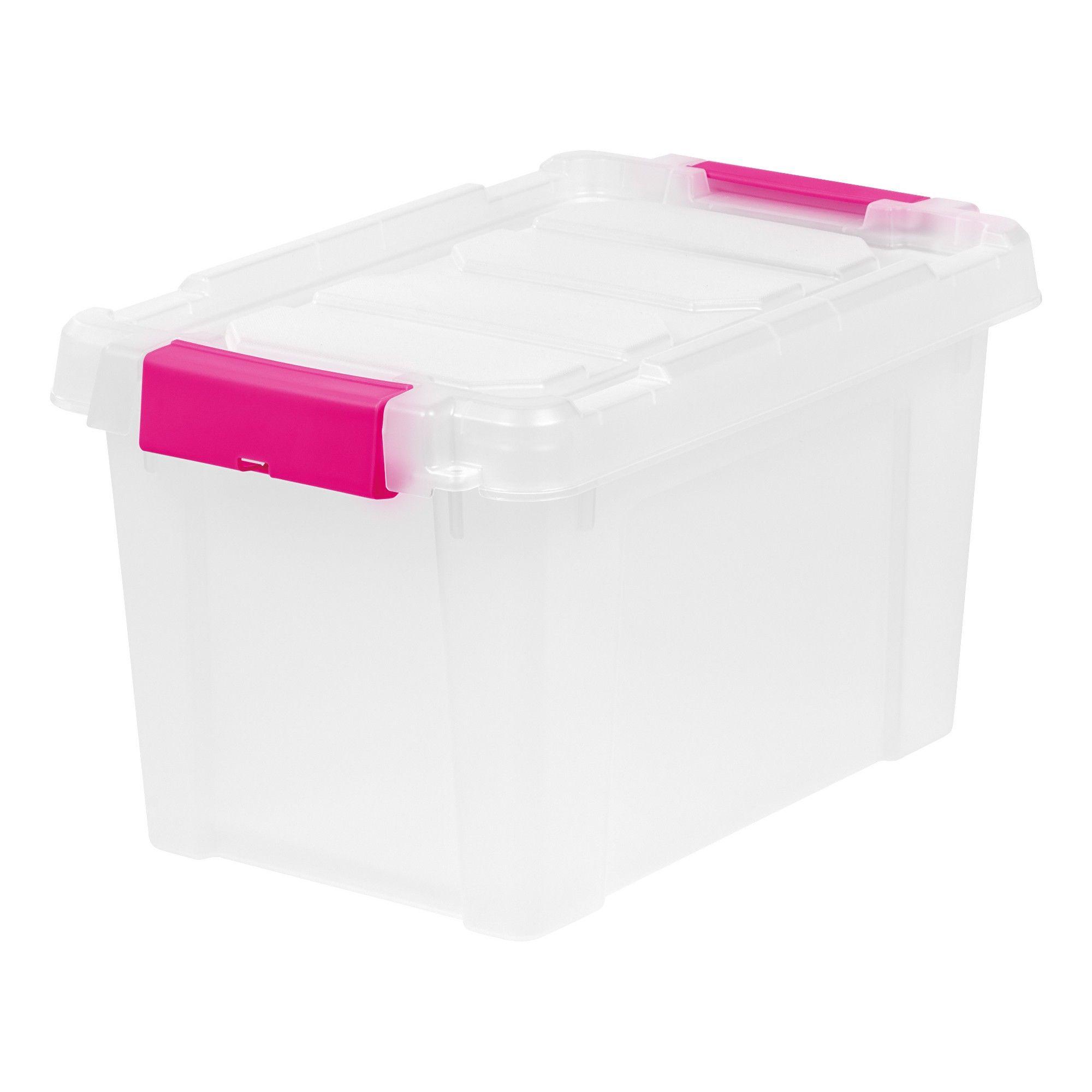 Iris 5 Gal Heavy Duty Plastic Storage Bin 6pk Pink Plastic