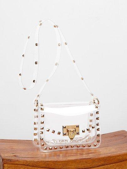 Studded Detail Clear Crossbody Bag In 2020 Crossbody Bag