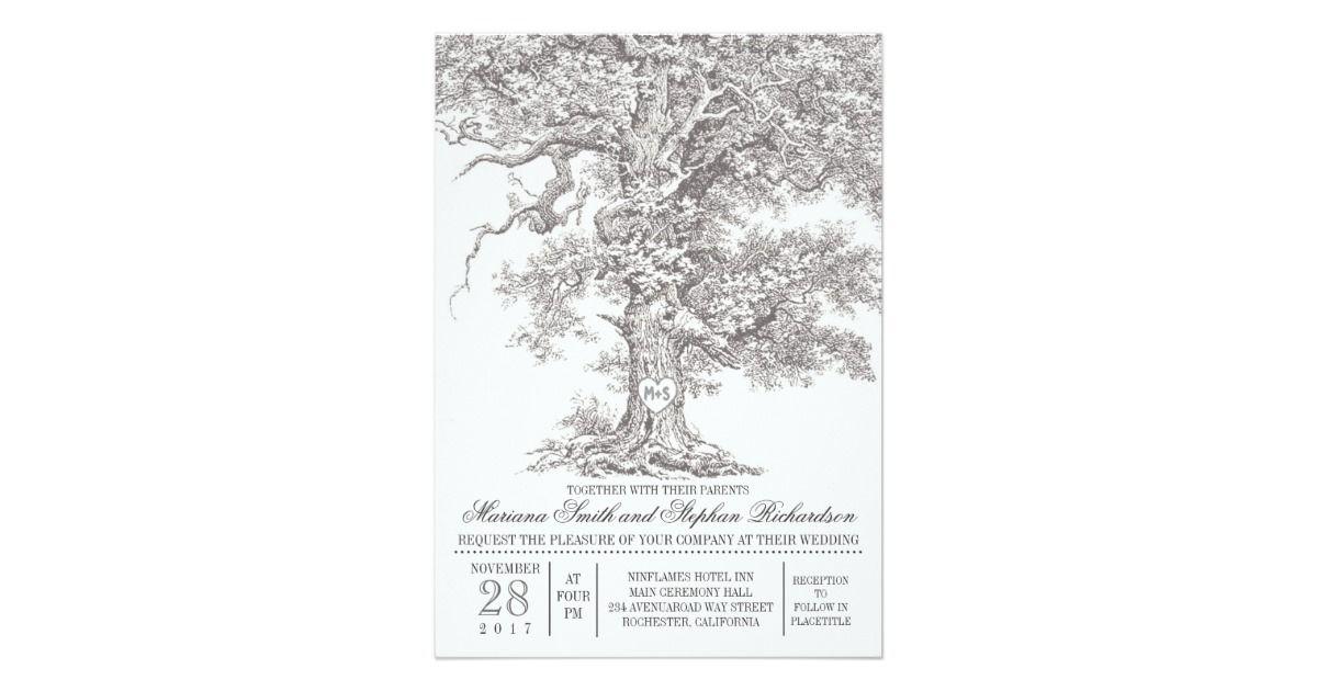Vintage old oak tree rustic wedding invitations | Zazzle