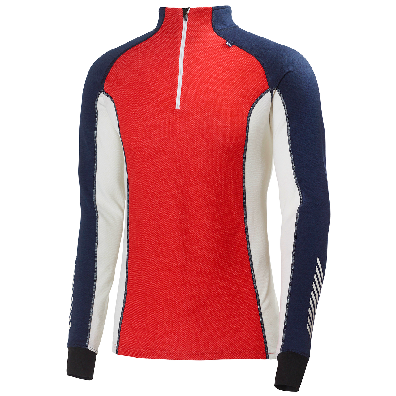 Helly Hansen Mens Warm Freeze 1/2 Zip Baselayer L/S Top: Alert Red/Evening Blue