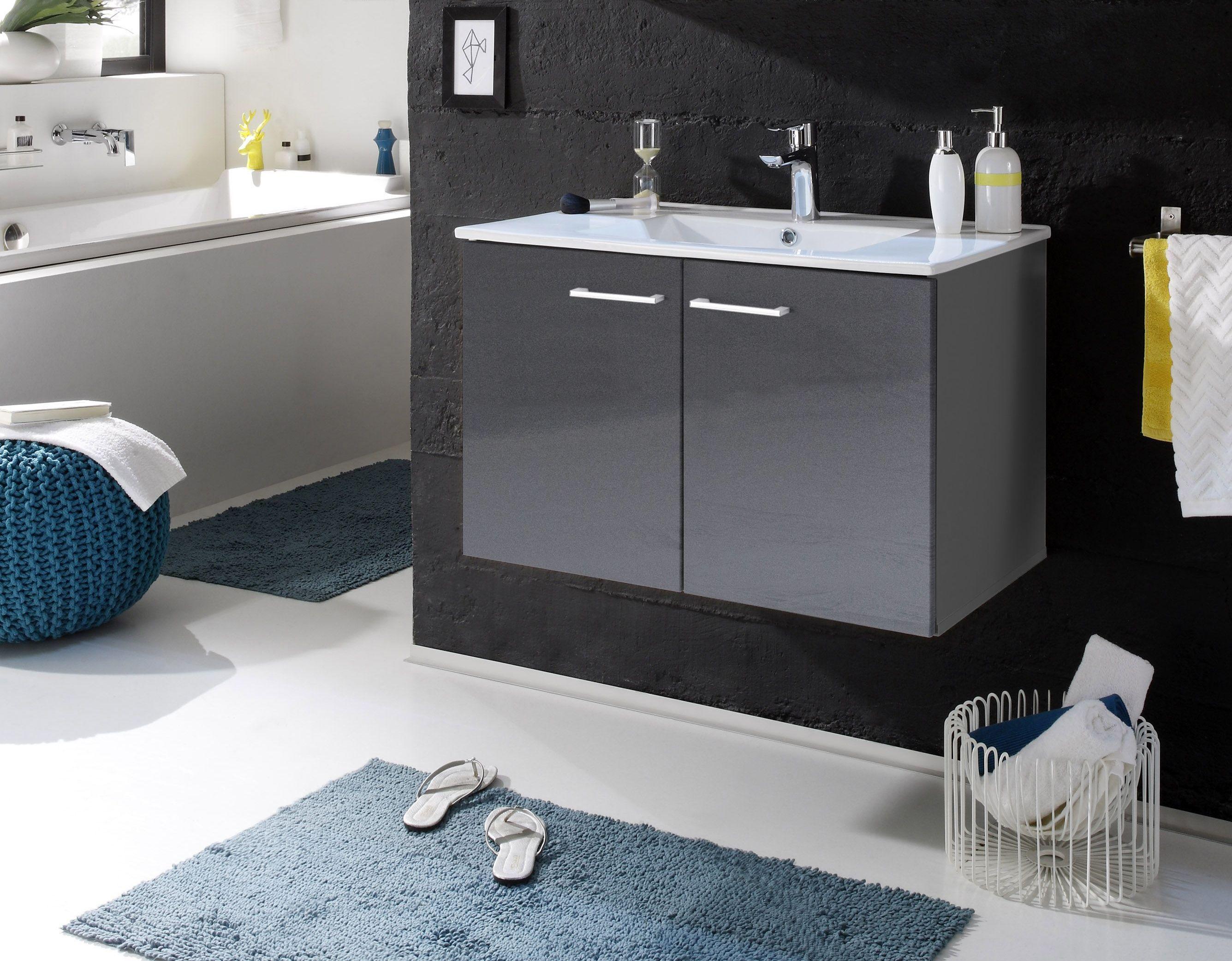 Waschbeckenunterschrank Mit Becken Grau Woody 32-00144 Holz Modern ...