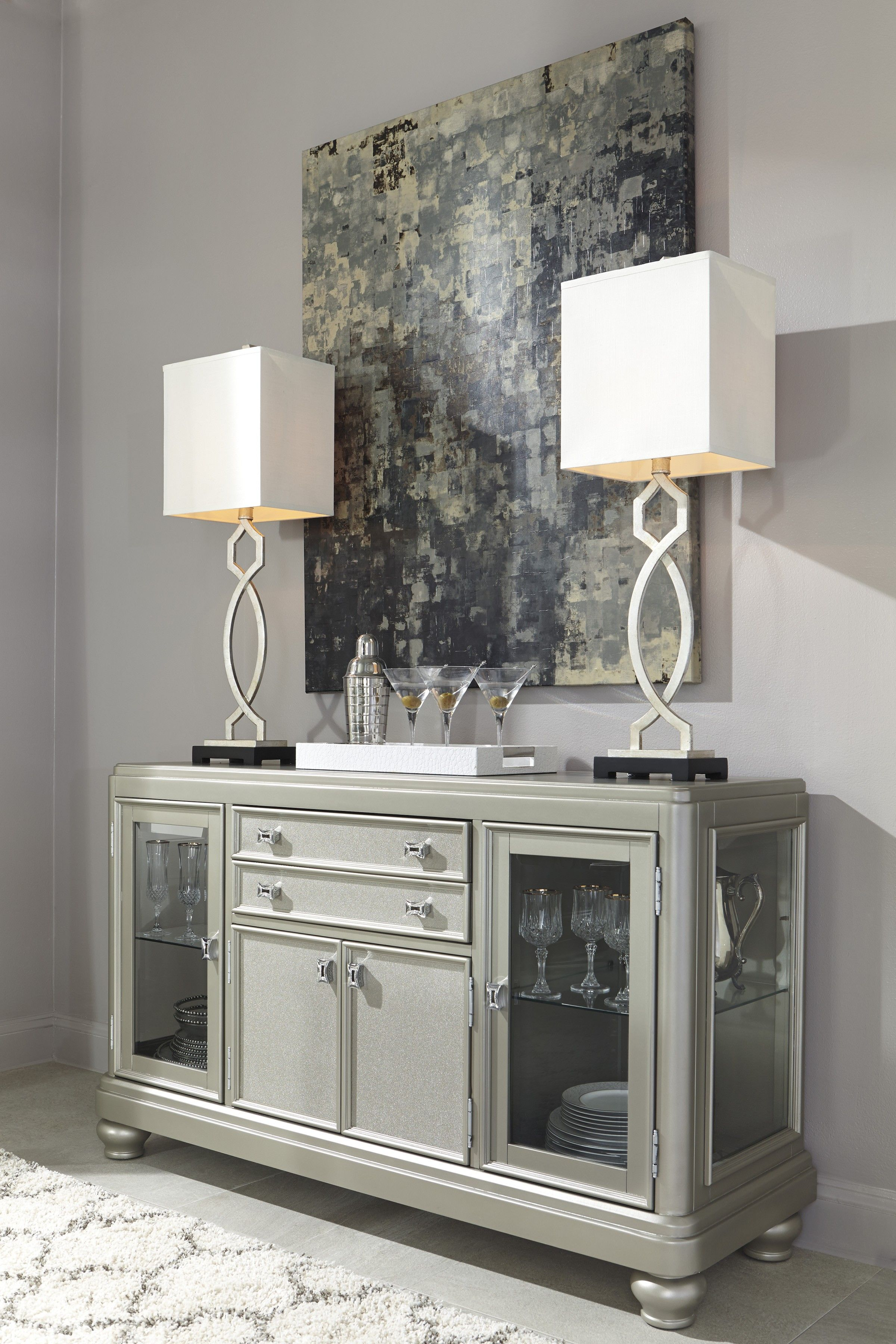 coralayne silver dining room server | dining room server