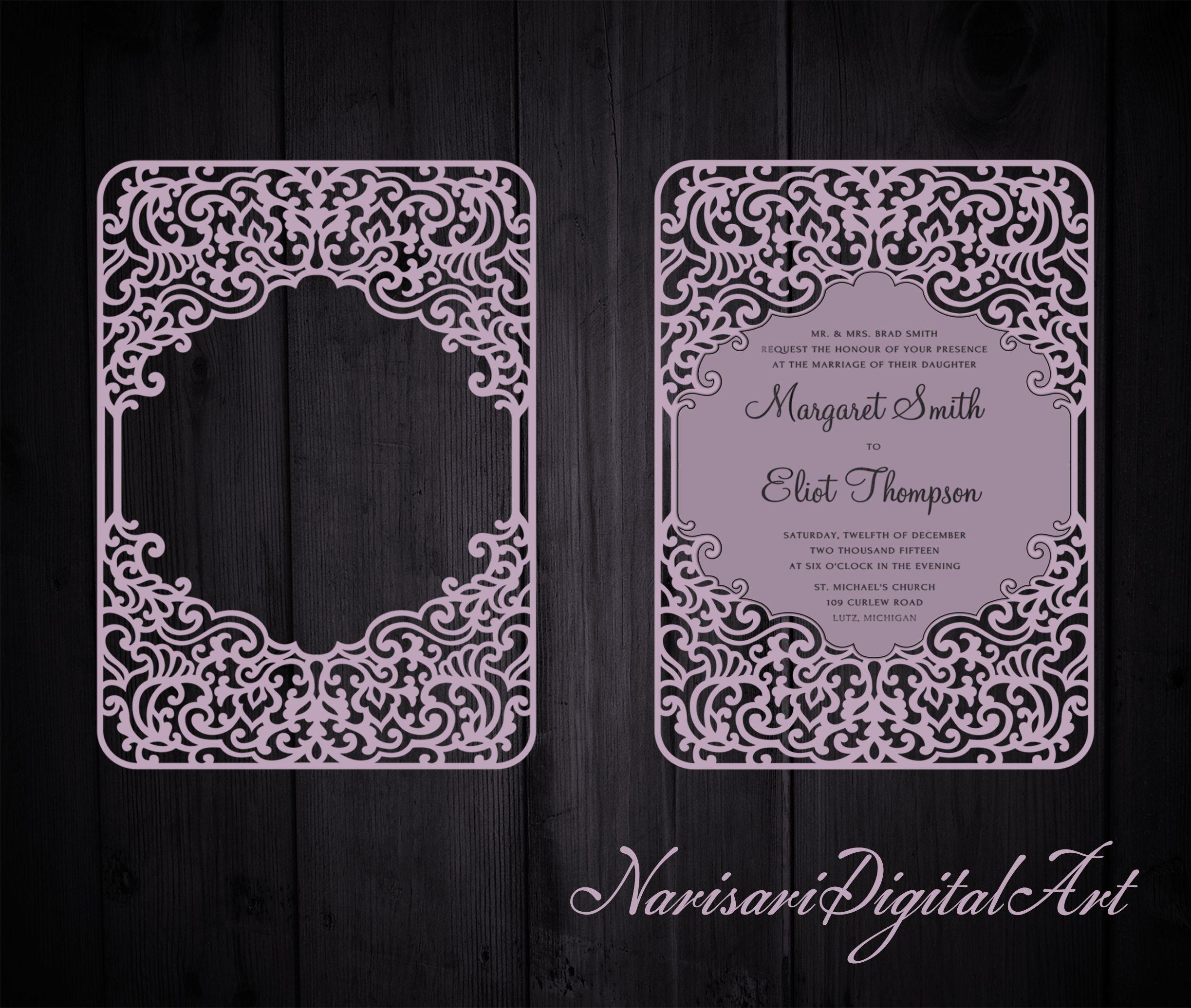 Ornamental Wedding Invitation Frame Card Template 5x7